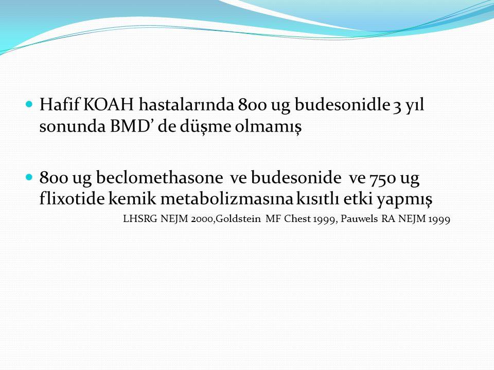 Hafif KOAH hastalarında 800 ug budesonidle 3 yıl sonunda BMD' de düşme olmamış