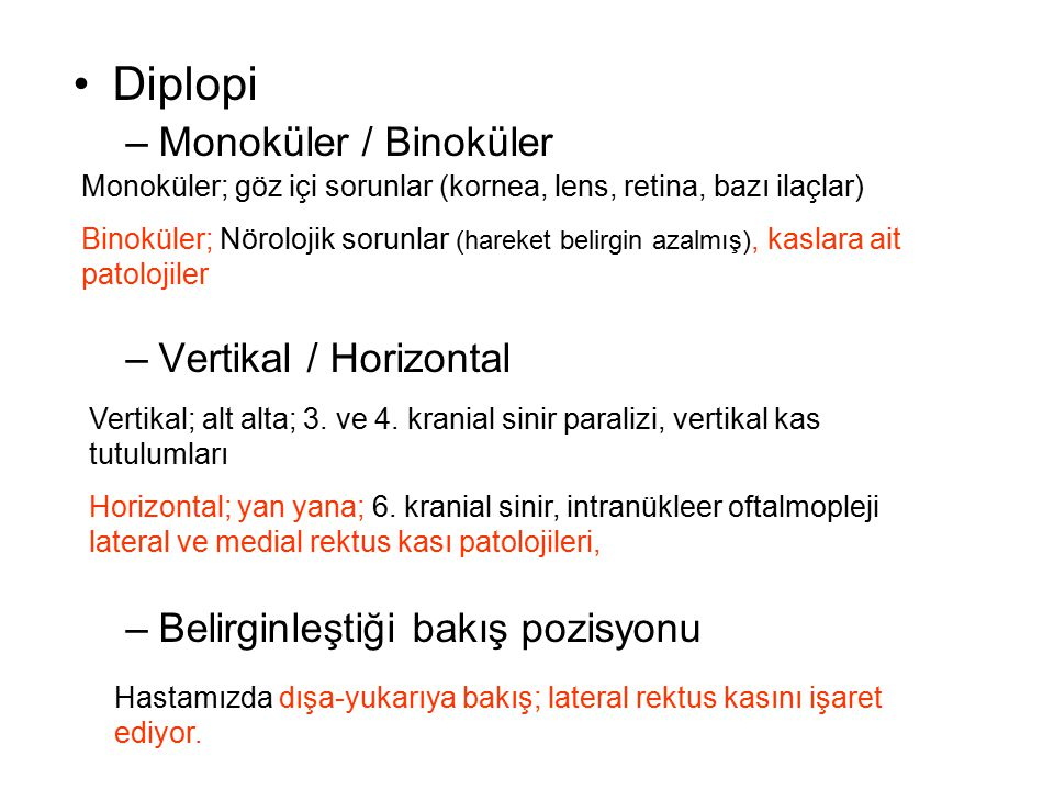 Diplopi Monoküler / Binoküler Vertikal / Horizontal