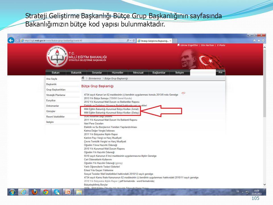 Strateji Geliştirme Başkanlığı Bütçe Grup Başkanlığının sayfasında Bakanlığımızın bütçe kod yapısı bulunmaktadır.