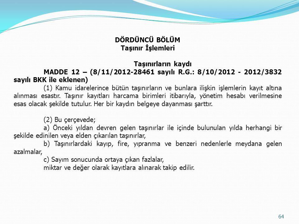 DÖRDÜNCÜ BÖLÜM Taşınır İşlemleri. Taşınırların kaydı. MADDE 12 – (8/11/2012-28461 sayılı R.G.: 8/10/2012 - 2012/3832 sayılı BKK ile eklenen)