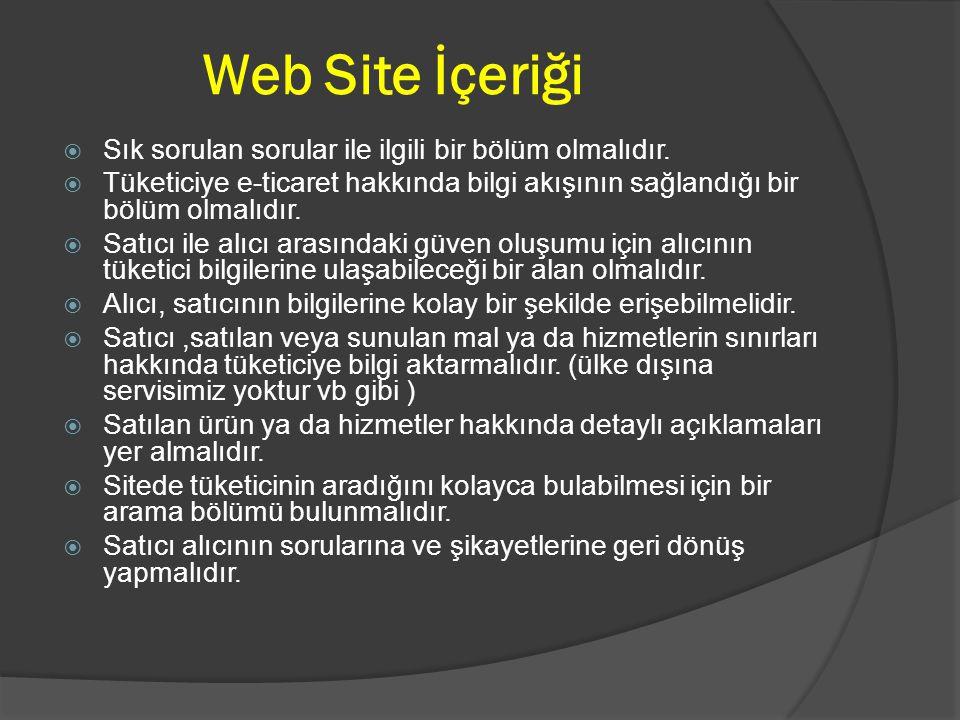 Web Site İçeriği Sık sorulan sorular ile ilgili bir bölüm olmalıdır.