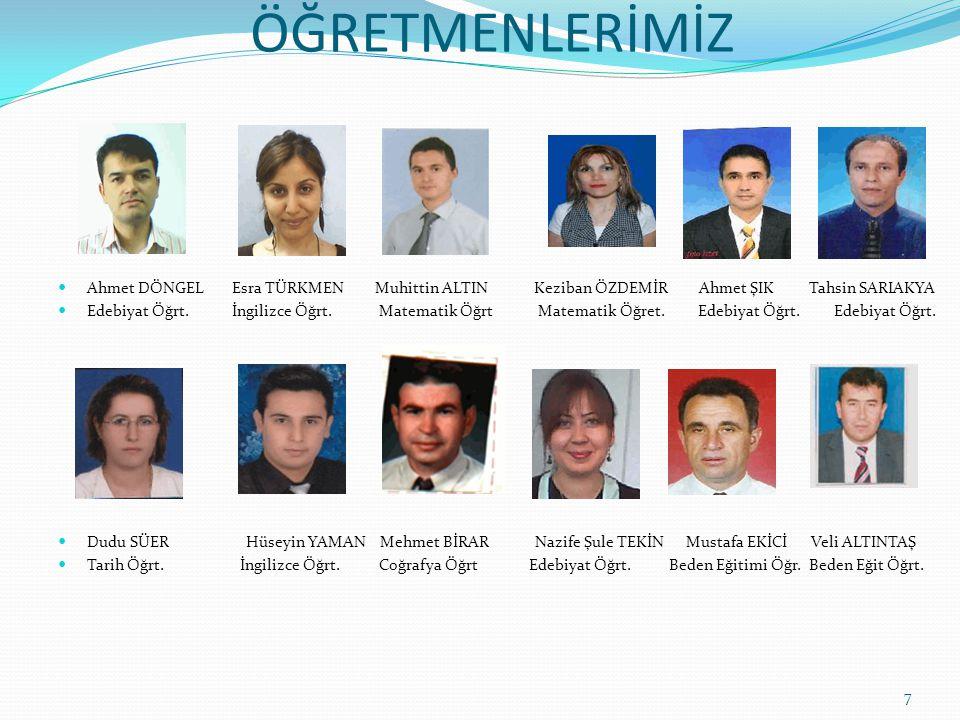 ÖĞRETMENLERİMİZ Ahmet DÖNGEL Esra TÜRKMEN Muhittin ALTIN Keziban ÖZDEMİR Ahmet ŞIK Tahsin SARIAKYA.