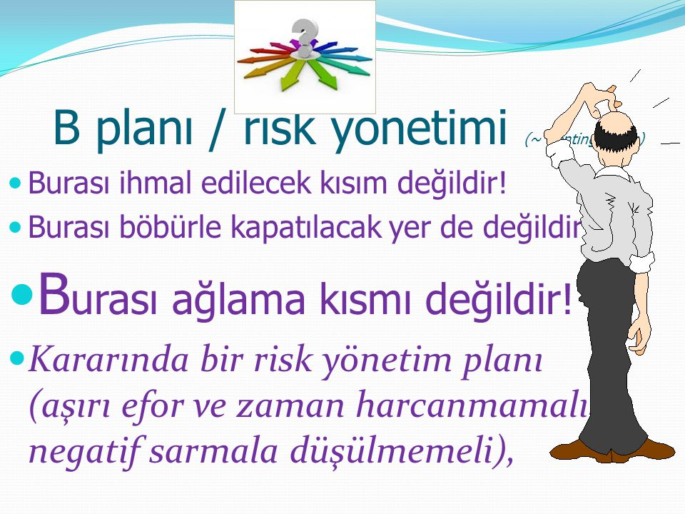 B planı / risk yönetimi (~ Contingencies)