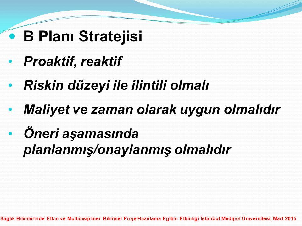B Planı Stratejisi Proaktif, reaktif Riskin düzeyi ile ilintili olmalı
