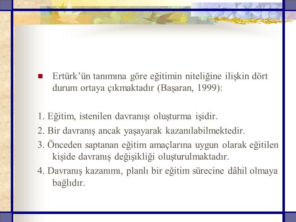 Ertürk'ün tanımına göre eğitimin niteliğine ilişkin dört durum ortaya çıkmaktadır (Başaran, 1999):
