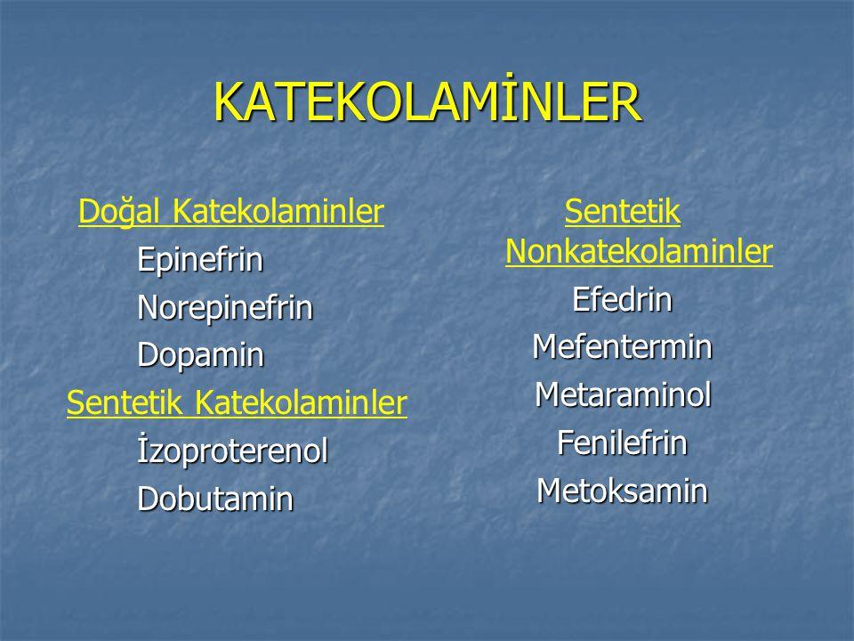 KATEKOLAMİNLER Doğal Katekolaminler Epinefrin Norepinefrin Dopamin