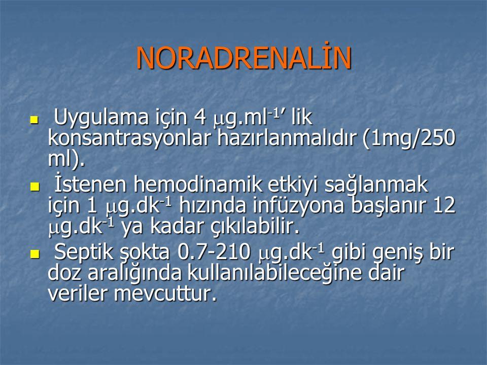 NORADRENALİN Uygulama için 4 g.ml-1' lik konsantrasyonlar hazırlanmalıdır (1mg/250 ml).