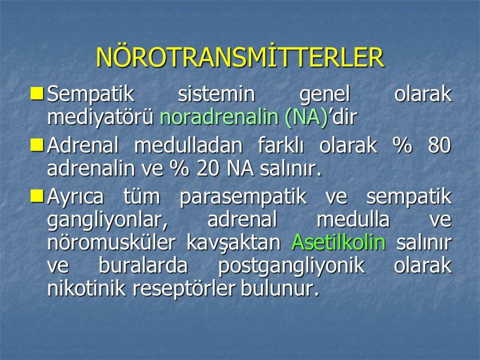 NÖROTRANSMİTTERLER Sempatik sistemin genel olarak mediyatörü noradrenalin (NA)'dir.