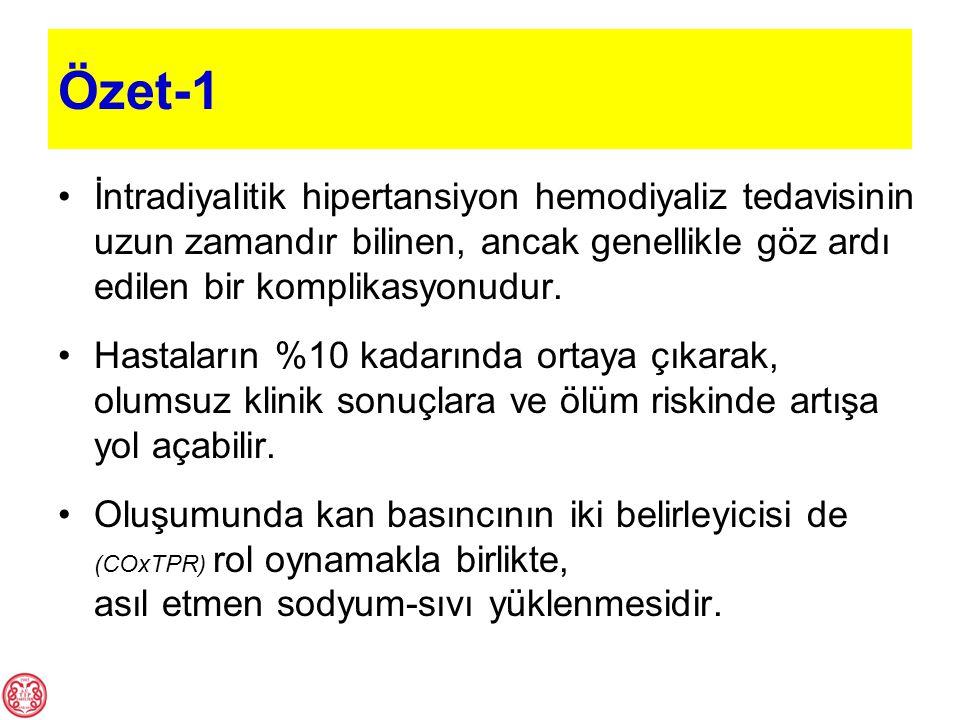 Özet-1 İntradiyalitik hipertansiyon hemodiyaliz tedavisinin uzun zamandır bilinen, ancak genellikle göz ardı edilen bir komplikasyonudur.