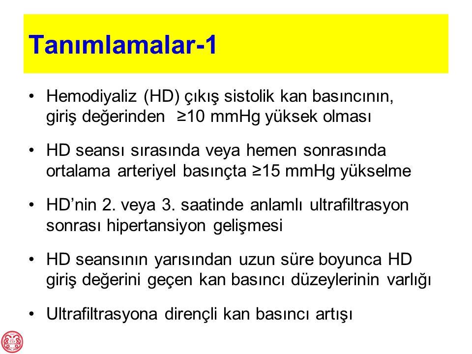 Tanımlamalar-1 Hemodiyaliz (HD) çıkış sistolik kan basıncının, giriş değerinden ≥10 mmHg yüksek olması.