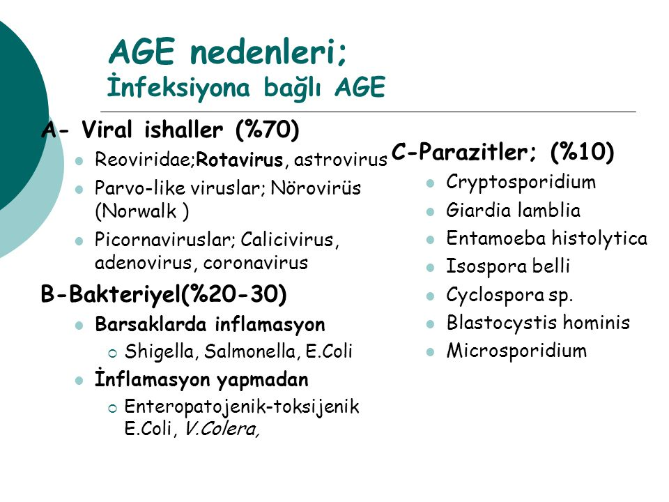 AGE nedenleri; İnfeksiyona bağlı AGE