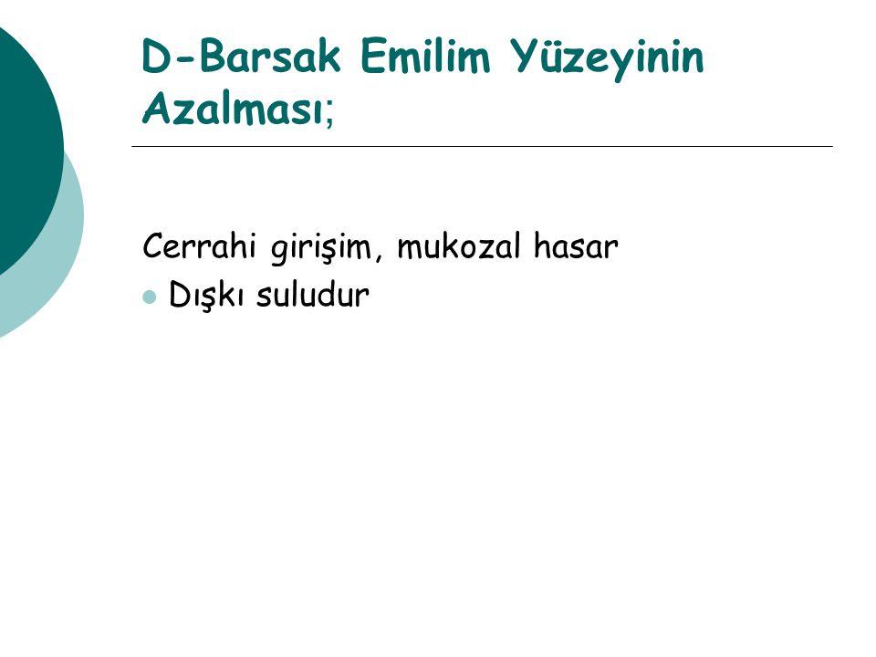 D-Barsak Emilim Yüzeyinin Azalması;