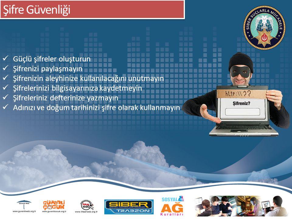 Şifre Güvenliği Güçlü şifreler oluşturun Şifrenizi paylaşmayın