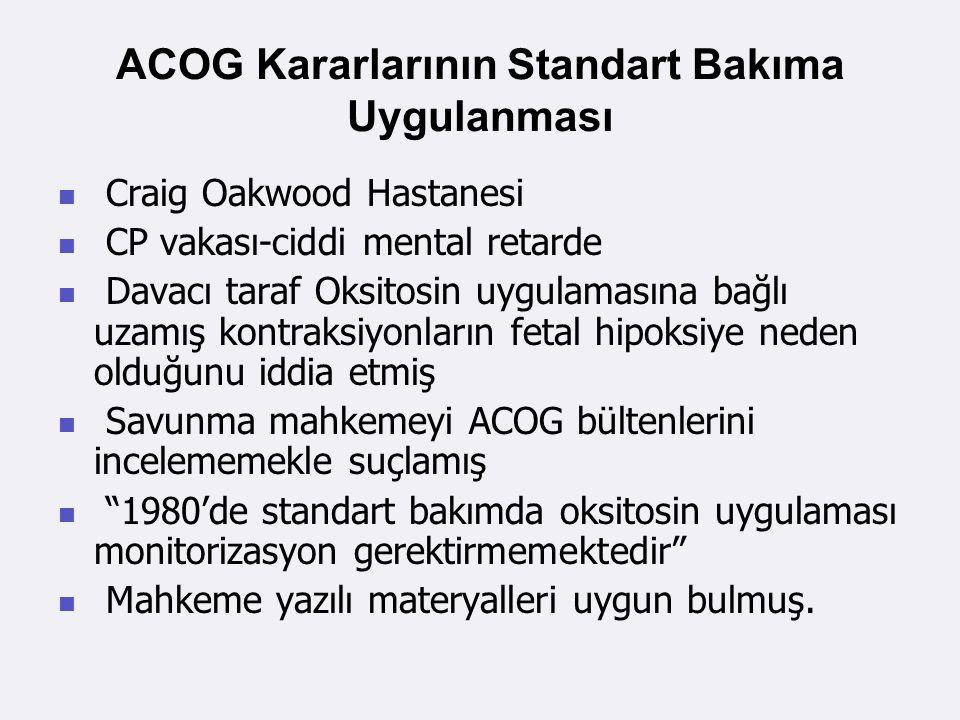 ACOG Kararlarının Standart Bakıma Uygulanması