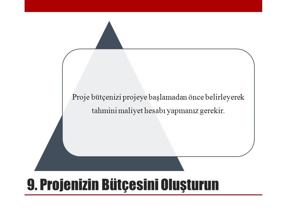 9. Projenizin Bütçesini Oluşturun