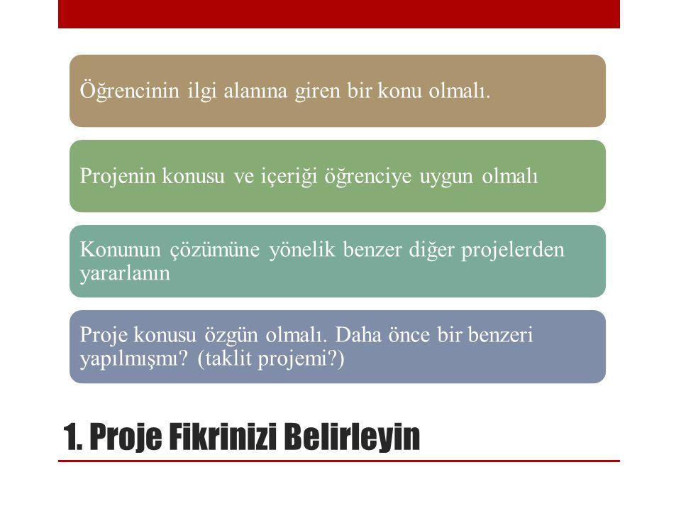 1. Proje Fikrinizi Belirleyin