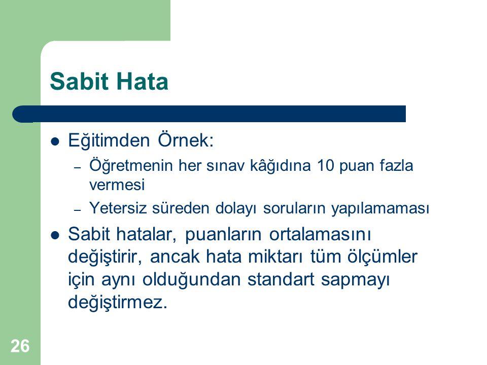 Sabit Hata Eğitimden Örnek: