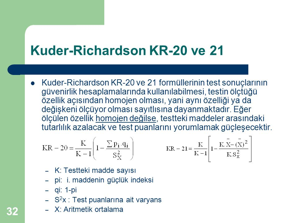 Kuder-Richardson KR-20 ve 21