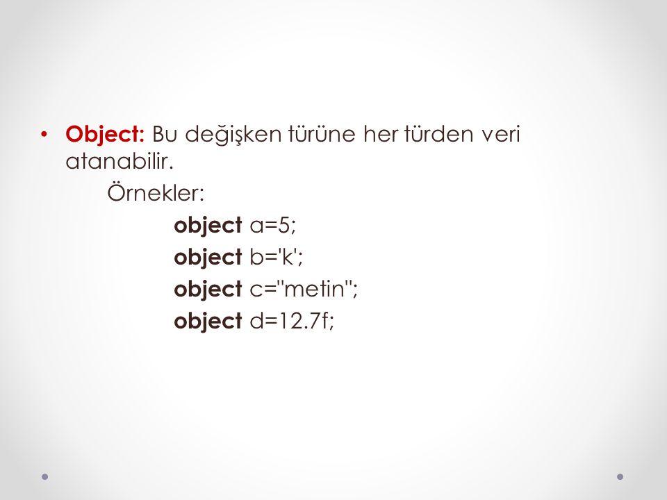 Object: Bu değişken türüne her türden veri atanabilir.