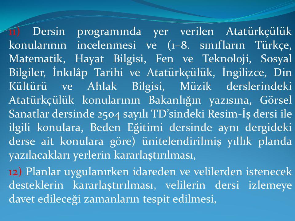 11) Dersin programında yer verilen Atatürkçülük konularının incelenmesi ve (1–8.