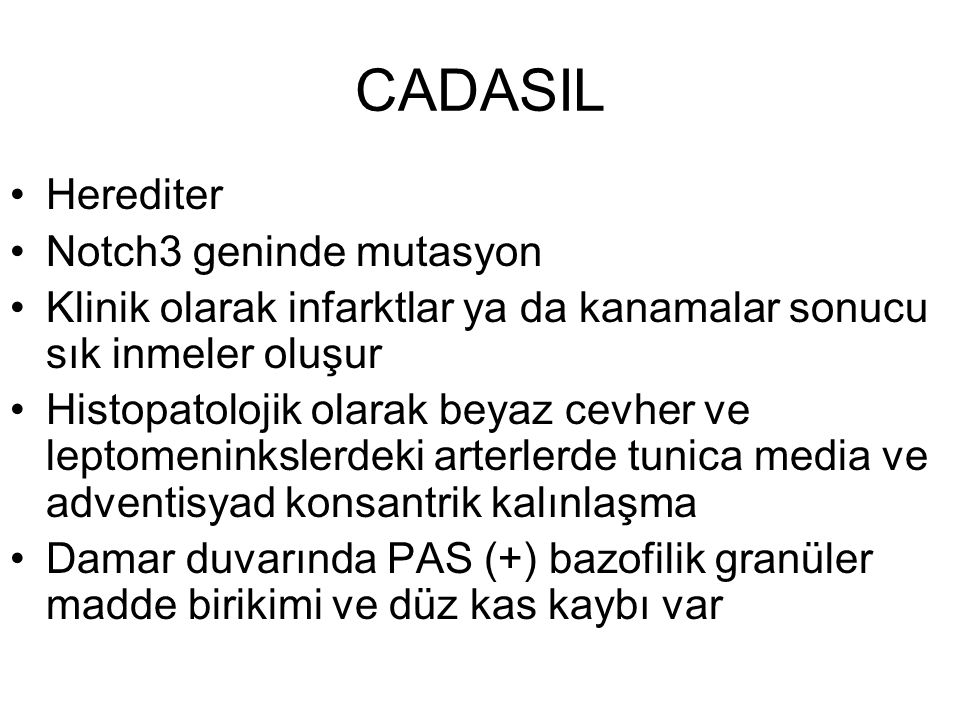 CADASIL Herediter Notch3 geninde mutasyon