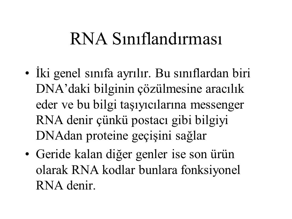RNA Sınıflandırması