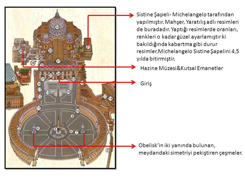 Sistine Şapeli- Michelangelo tarafından yapılmıştır
