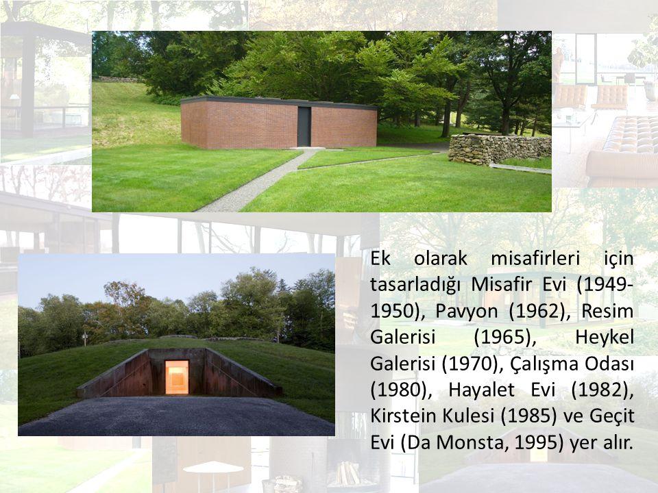 Ek olarak misafirleri için tasarladığı Misafir Evi (1949-1950), Pavyon (1962), Resim Galerisi (1965), Heykel Galerisi (1970), Çalışma Odası (1980), Hayalet Evi (1982), Kirstein Kulesi (1985) ve Geçit Evi (Da Monsta, 1995) yer alır.