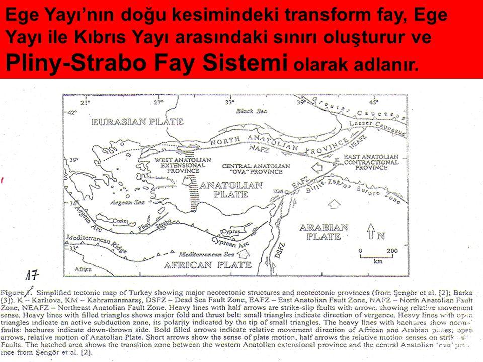 Ege Yayı'nın doğu kesimindeki transform fay, Ege Yayı ile Kıbrıs Yayı arasındaki sınırı oluşturur ve Pliny-Strabo Fay Sistemi olarak adlanır.