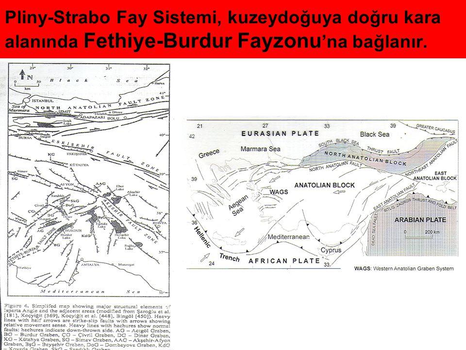 Pliny-Strabo Fay Sistemi, kuzeydoğuya doğru kara alanında Fethiye-Burdur Fayzonu'na bağlanır.