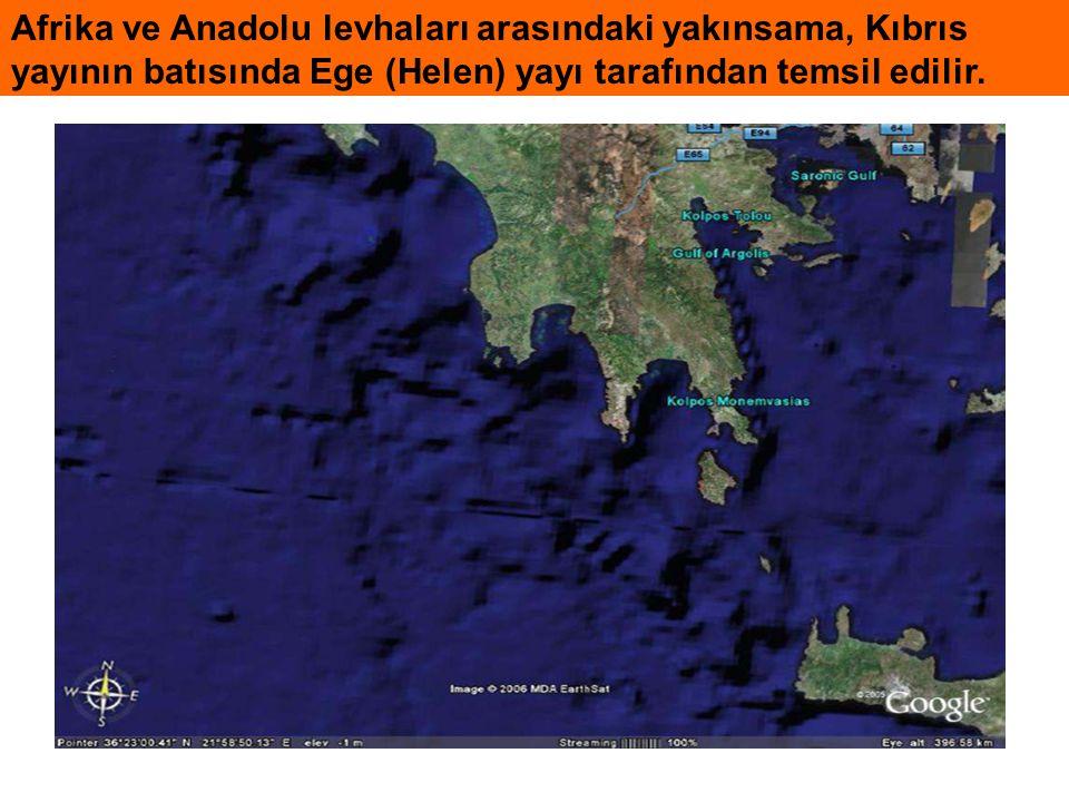 Afrika ve Anadolu levhaları arasındaki yakınsama, Kıbrıs yayının batısında Ege (Helen) yayı tarafından temsil edilir.