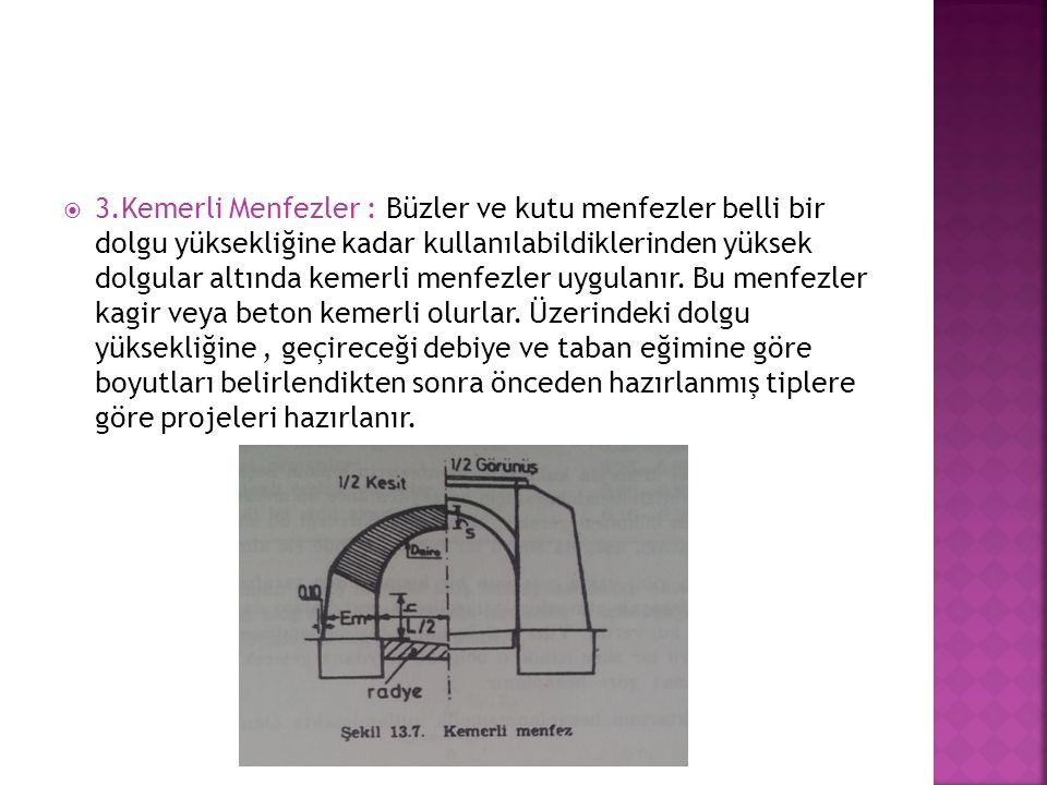 3.Kemerli Menfezler : Büzler ve kutu menfezler belli bir dolgu yüksekliğine kadar kullanılabildiklerinden yüksek dolgular altında kemerli menfezler uygulanır.
