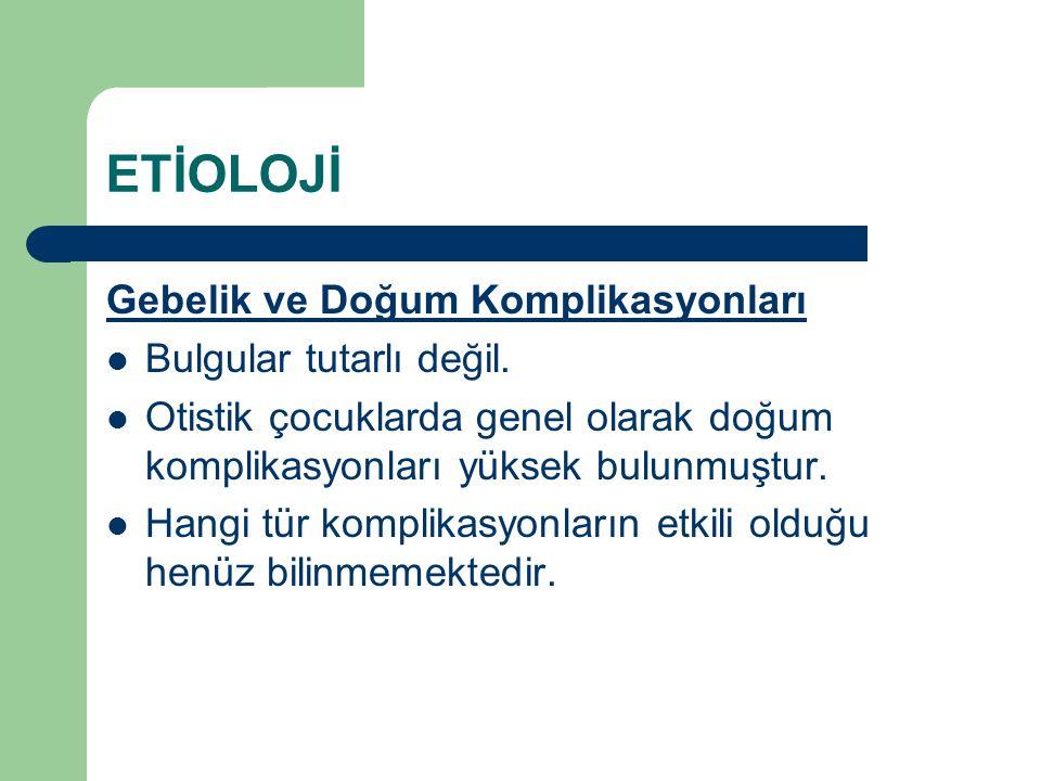 ETİOLOJİ Gebelik ve Doğum Komplikasyonları Bulgular tutarlı değil.