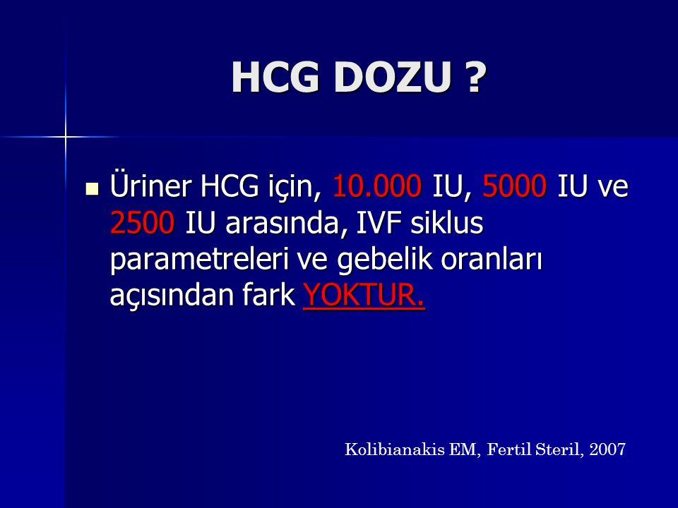 HCG DOZU Üriner HCG için, 10.000 IU, 5000 IU ve 2500 IU arasında, IVF siklus parametreleri ve gebelik oranları açısından fark YOKTUR.