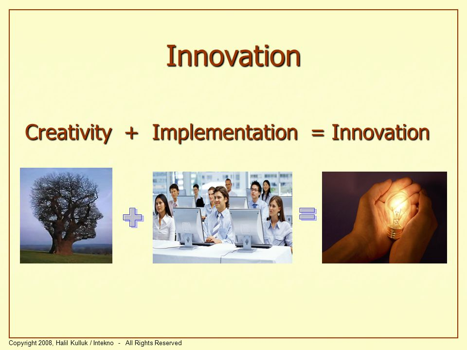 Innovation + = Creativity + Implementation = Innovation