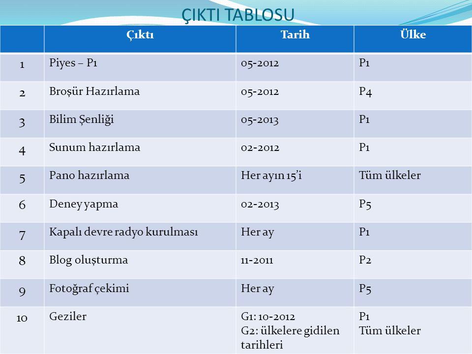 ÇIKTI TABLOSU 1 2 3 4 5 6 7 8 9 10 Çıktı Tarih Ülke Piyes – P1 05-2012
