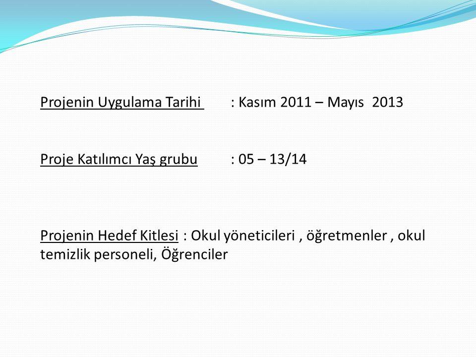 Projenin Uygulama Tarihi : Kasım 2011 – Mayıs 2013