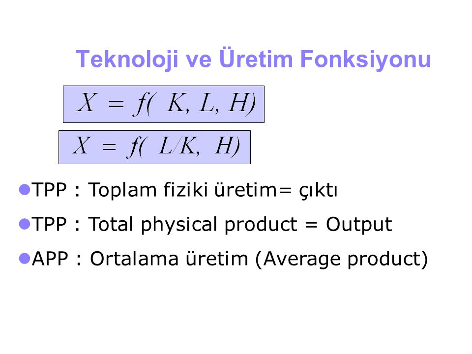 Teknoloji ve Üretim Fonksiyonu
