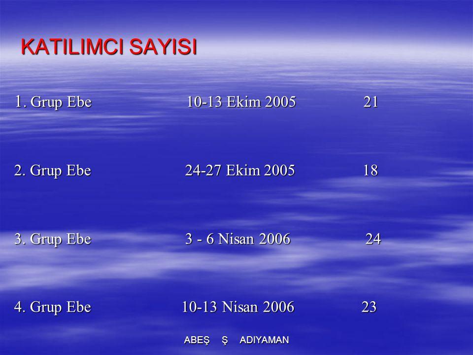 KATILIMCI SAYISI 1. Grup Ebe 10-13 Ekim 2005 21