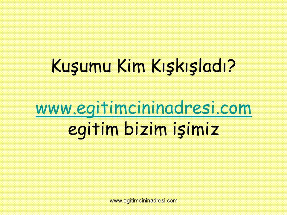 Kuşumu Kim Kışkışladı www.egitimcininadresi.com egitim bizim işimiz