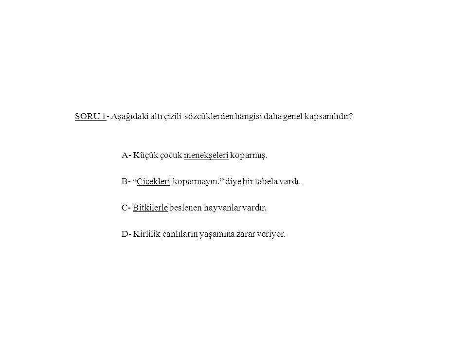 SORU 1- Aşağıdaki altı çizili sözcüklerden hangisi daha genel kapsamlıdır.