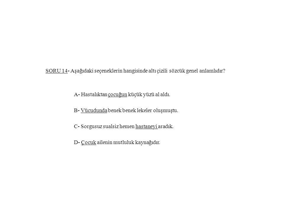 SORU 14- Aşağıdaki seçeneklerin hangisinde altı çizili sözcük genel anlamlıdır.