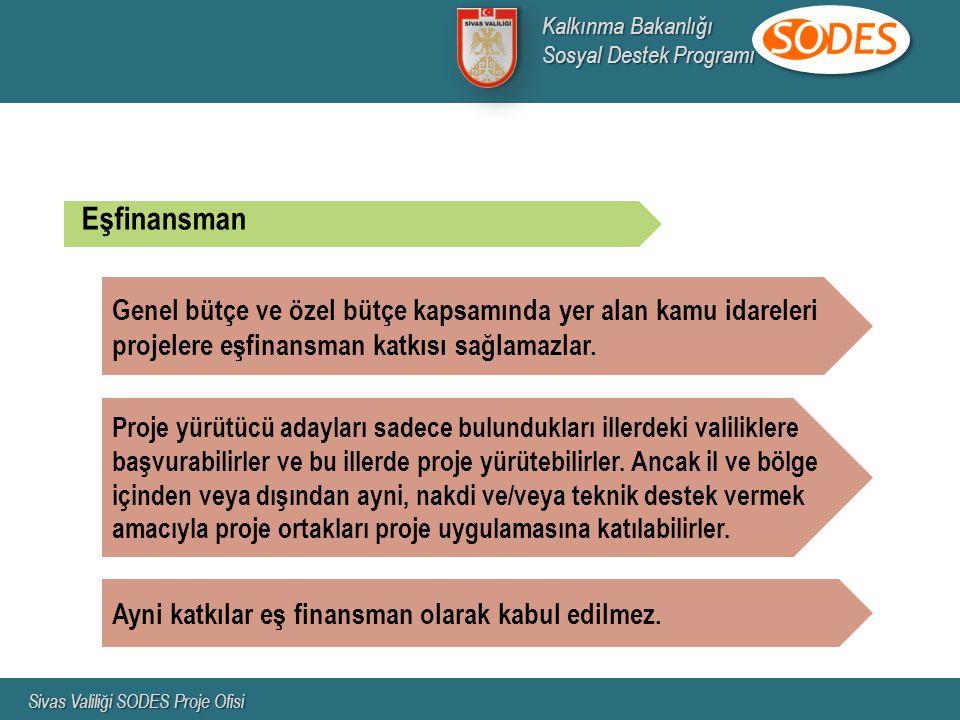 Kalkınma Bakanlığı Sosyal Destek Programı. Sivas Valiliği SODES Proje Ofisi. Eşfinansman.