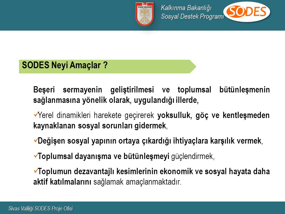 Kalkınma Bakanlığı Sosyal Destek Programı. Sivas Valiliği SODES Proje Ofisi. SODES Neyi Amaçlar