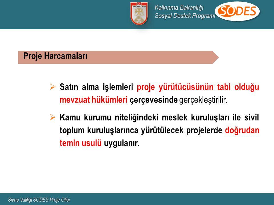 Kalkınma Bakanlığı Sosyal Destek Programı. Sivas Valiliği SODES Proje Ofisi. Proje Harcamaları.