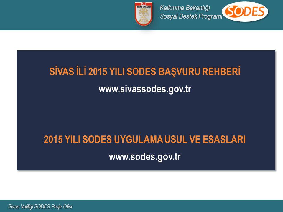 SİVAS İLİ 2015 YILI SODES BAŞVURU REHBERİ www.sivassodes.gov.tr