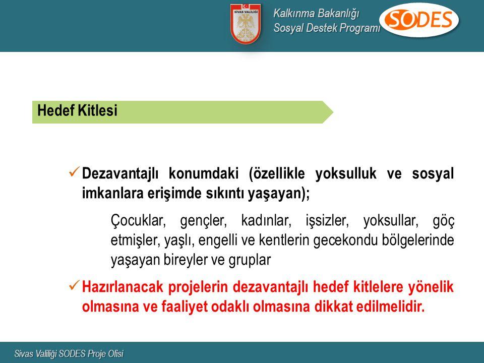 Kalkınma Bakanlığı Sosyal Destek Programı. Sivas Valiliği SODES Proje Ofisi. Hedef Kitlesi.