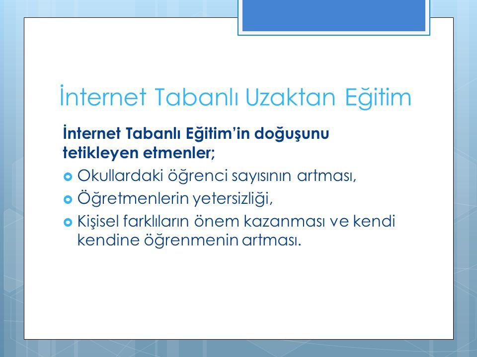 İnternet Tabanlı Uzaktan Eğitim