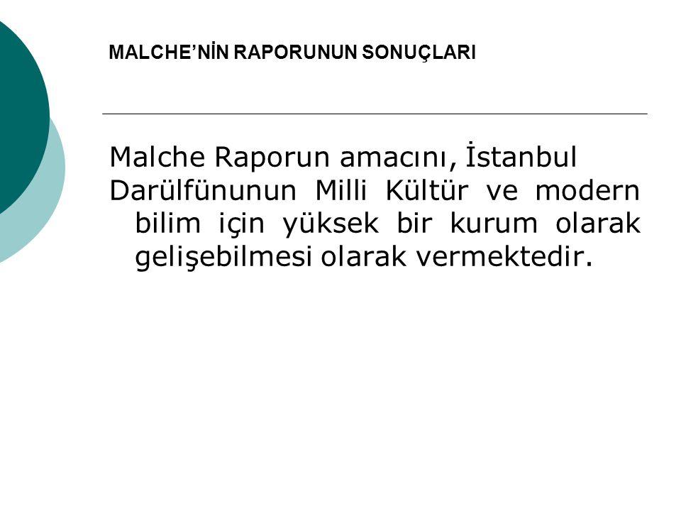 MALCHE'NİN RAPORUNUN SONUÇLARI