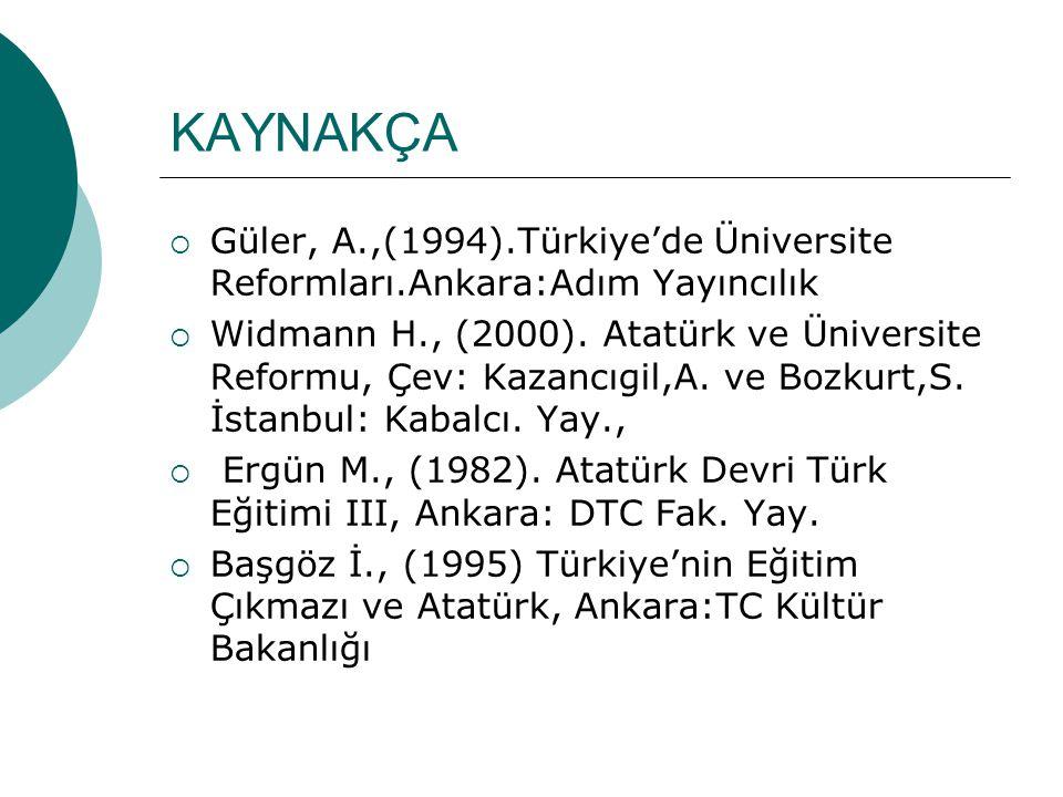 KAYNAKÇA Güler, A.,(1994).Türkiye'de Üniversite Reformları.Ankara:Adım Yayıncılık.